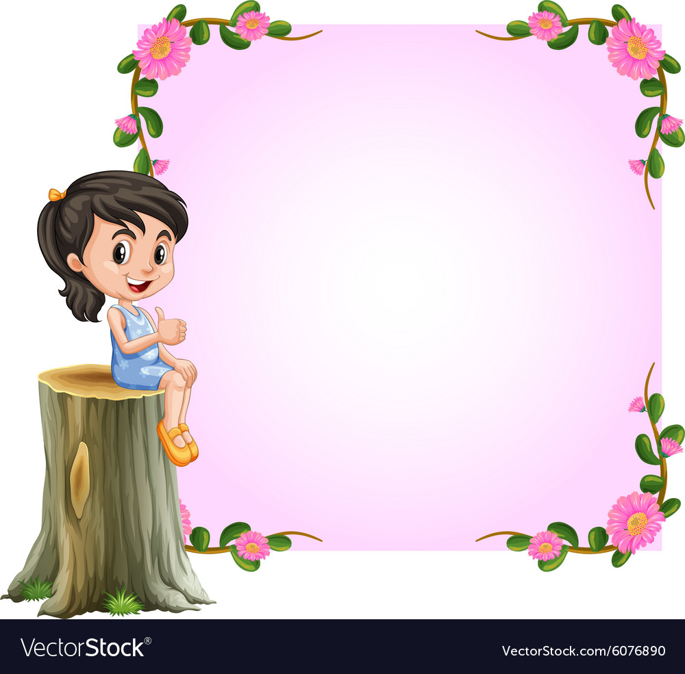 asian girl and pink border with flowers design vector image