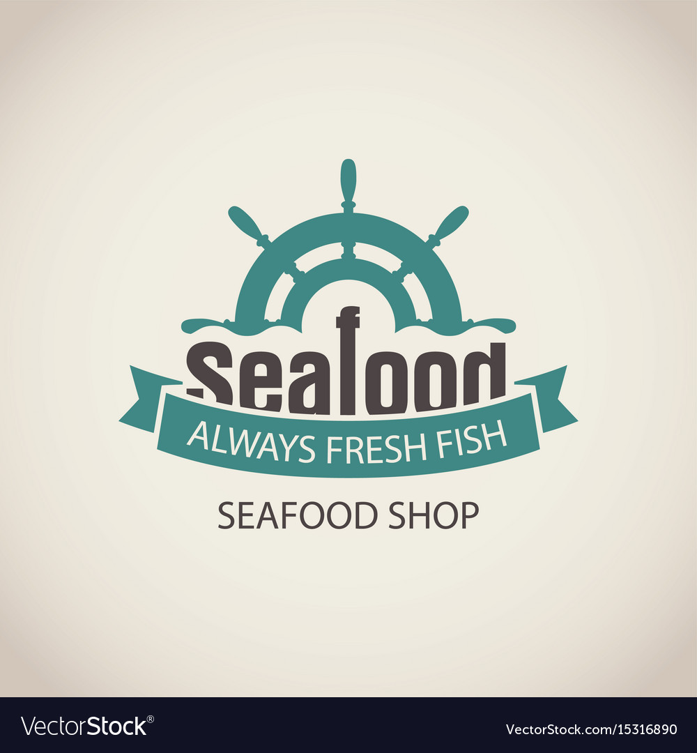 Banner for seafood with ship helm wave and words vector image