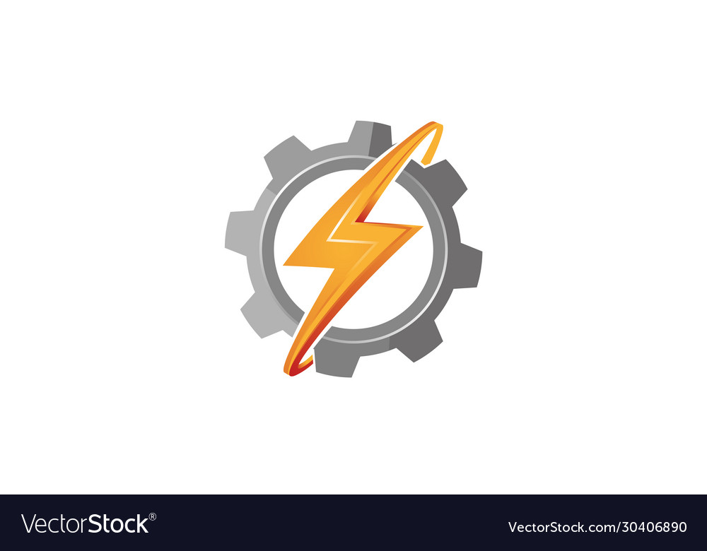 Creative abstract gear thunder bolt logo