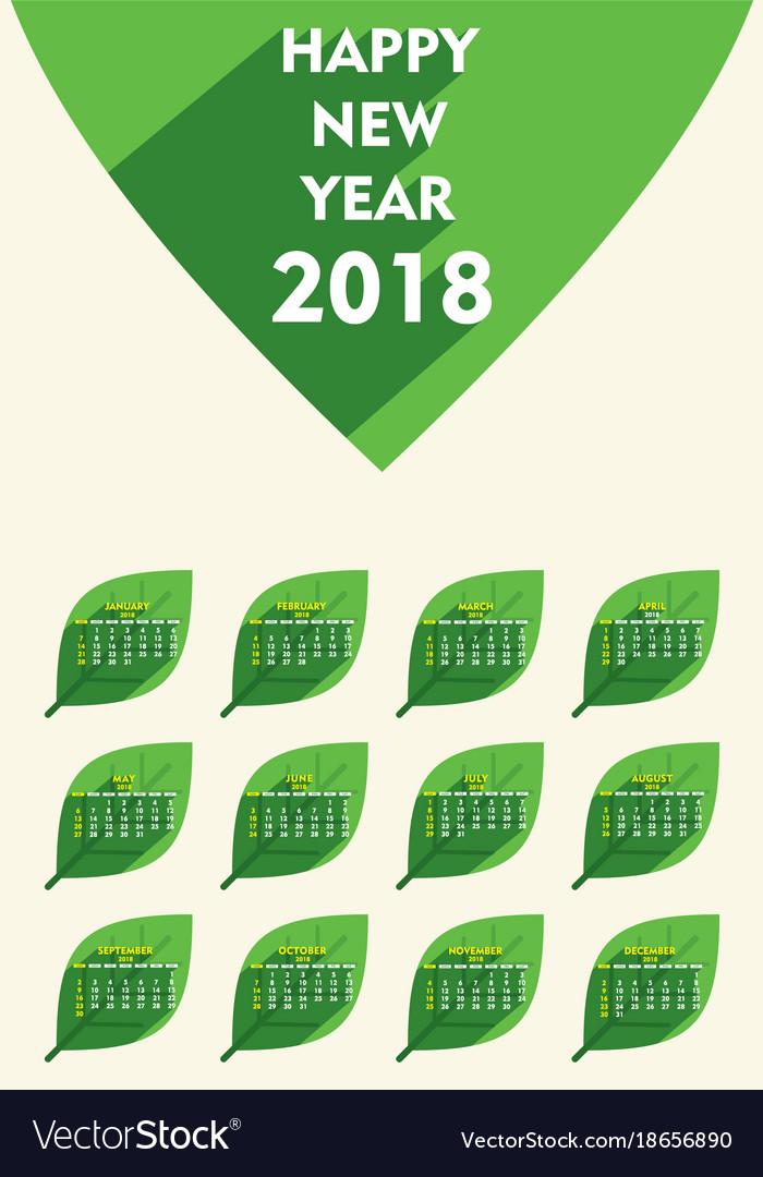 Creative New Year 2018 Calendar Template Design Vector Image