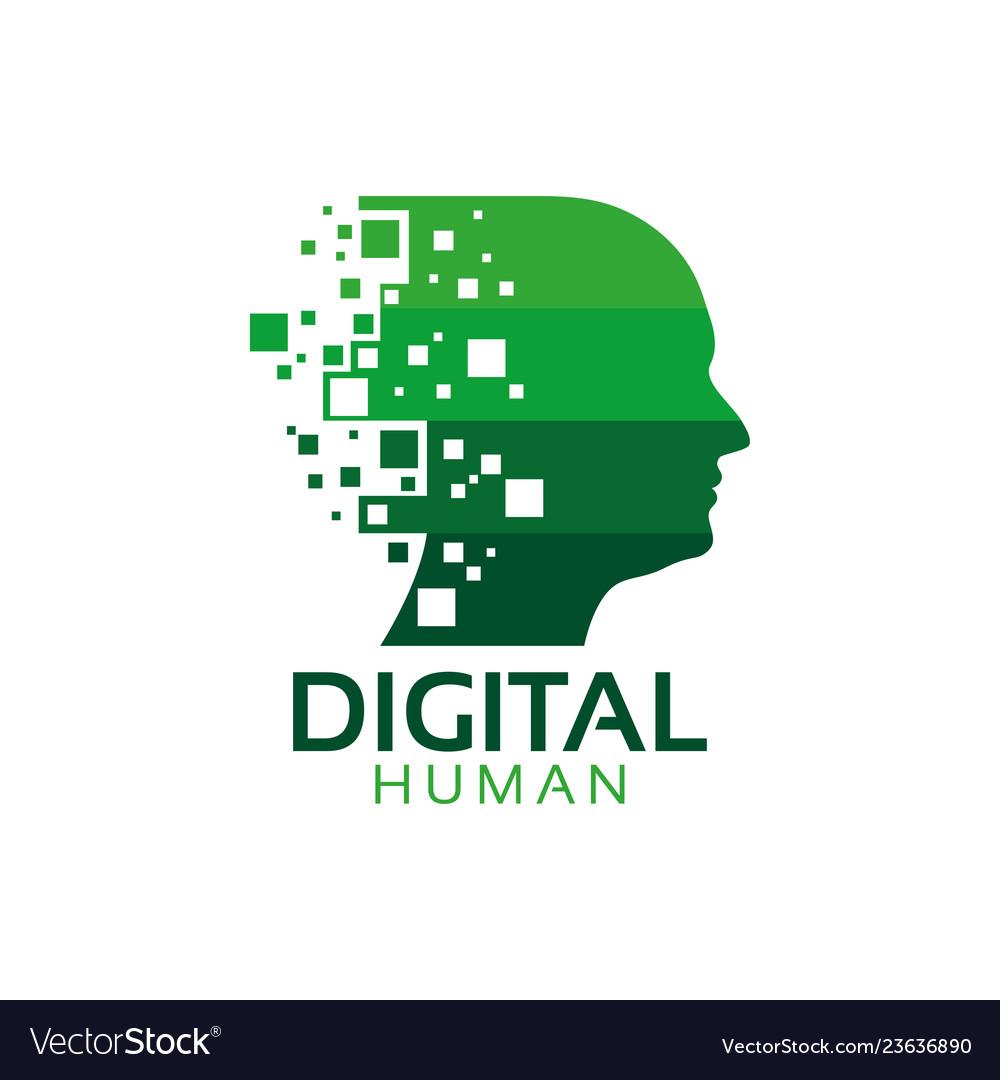 Digital human logo icon design template