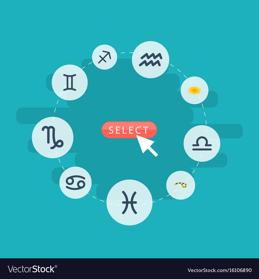 Flat icons crab water bearer horoscope and other