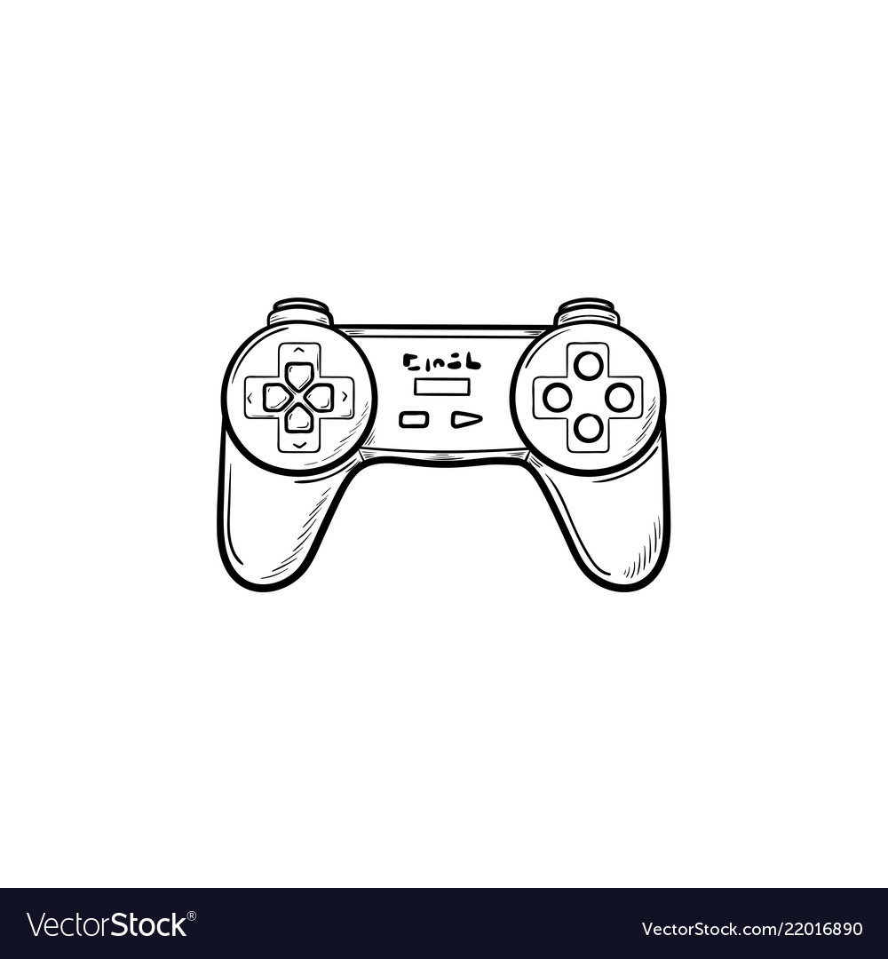 Game Joystick Hand Drawn Outline Doodle Icon Vector Image - Video game outline
