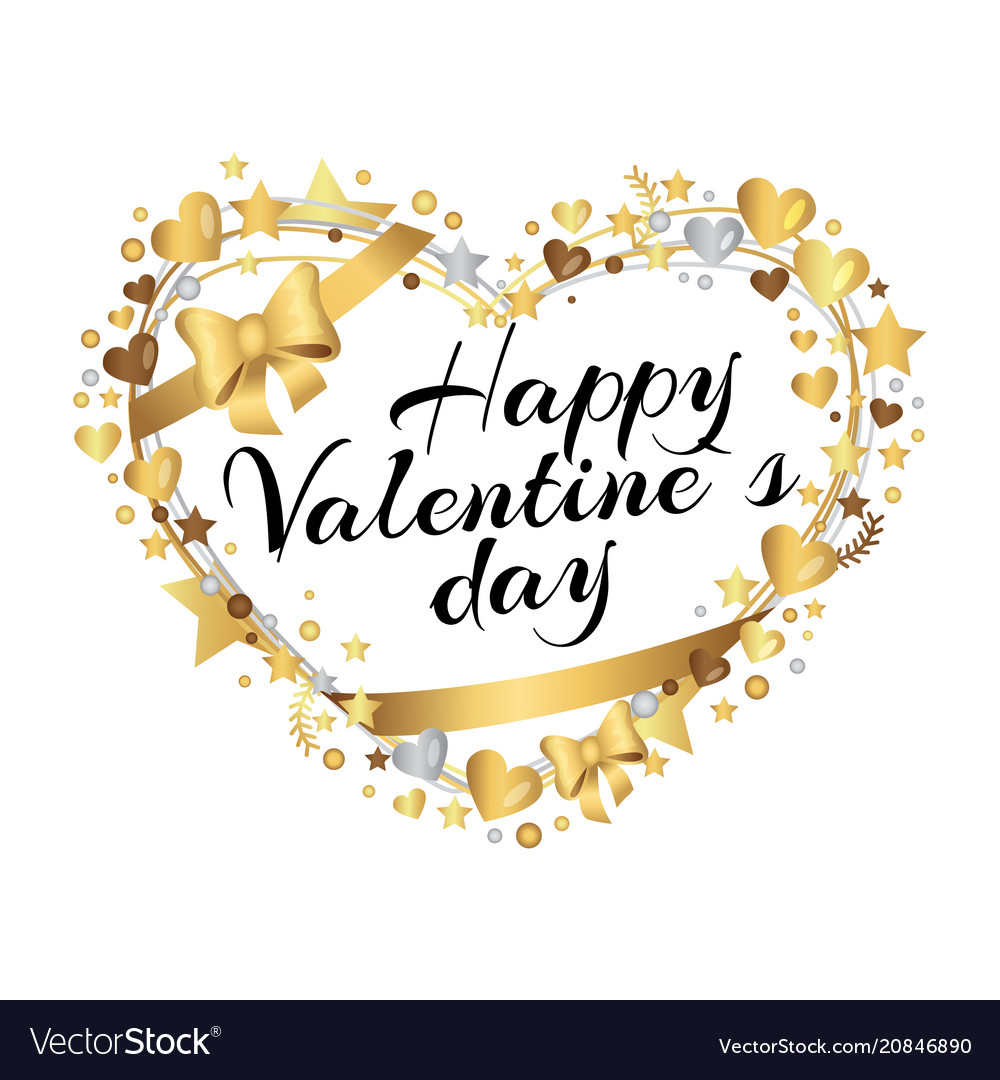 Happy valentines day poster inscription in hearts