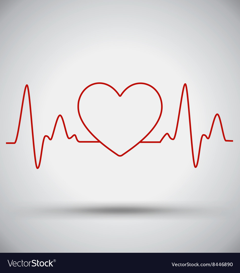 Heartbeat Connect Heart Shape and EKG Medical vector image