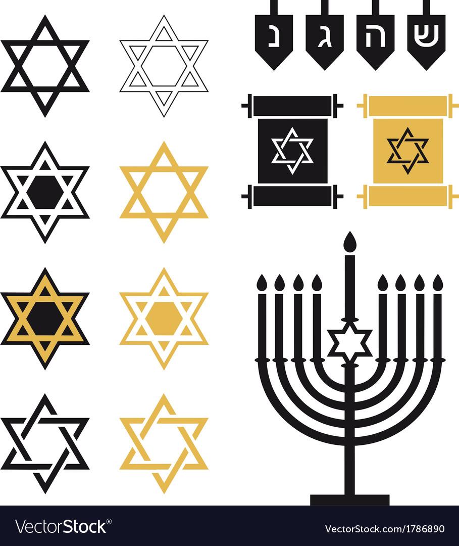 Jewish stars religious icon set