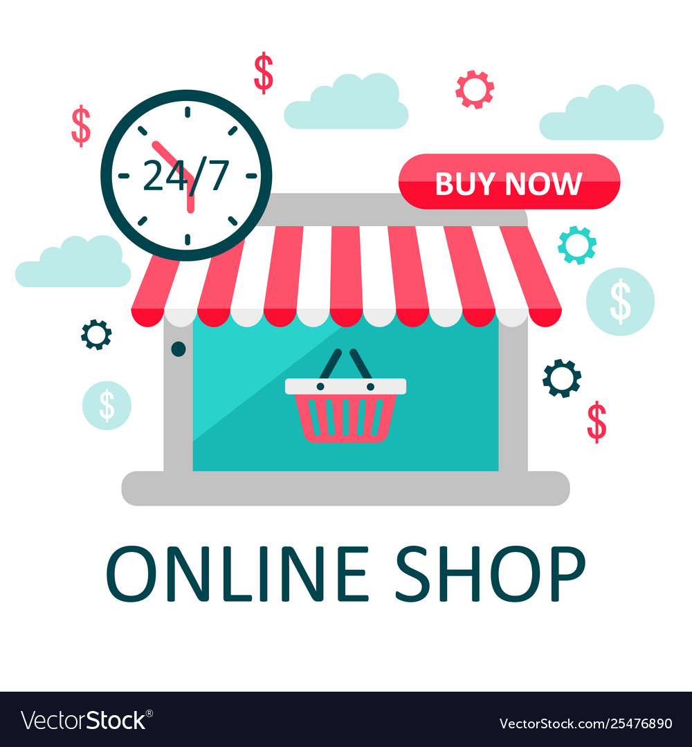 Online store concept on laptop screen with striped