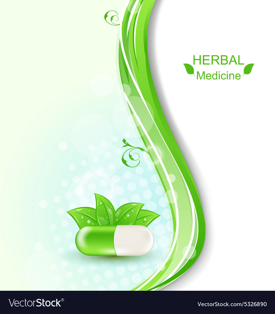 Pill and Green Leaves vector image