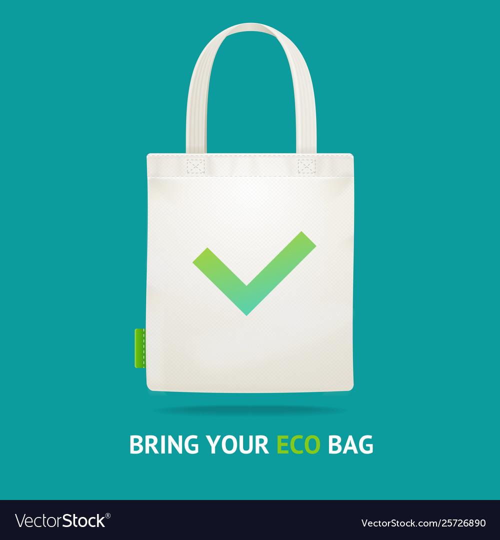 Realistic 3d detailed use eco bag no plastic