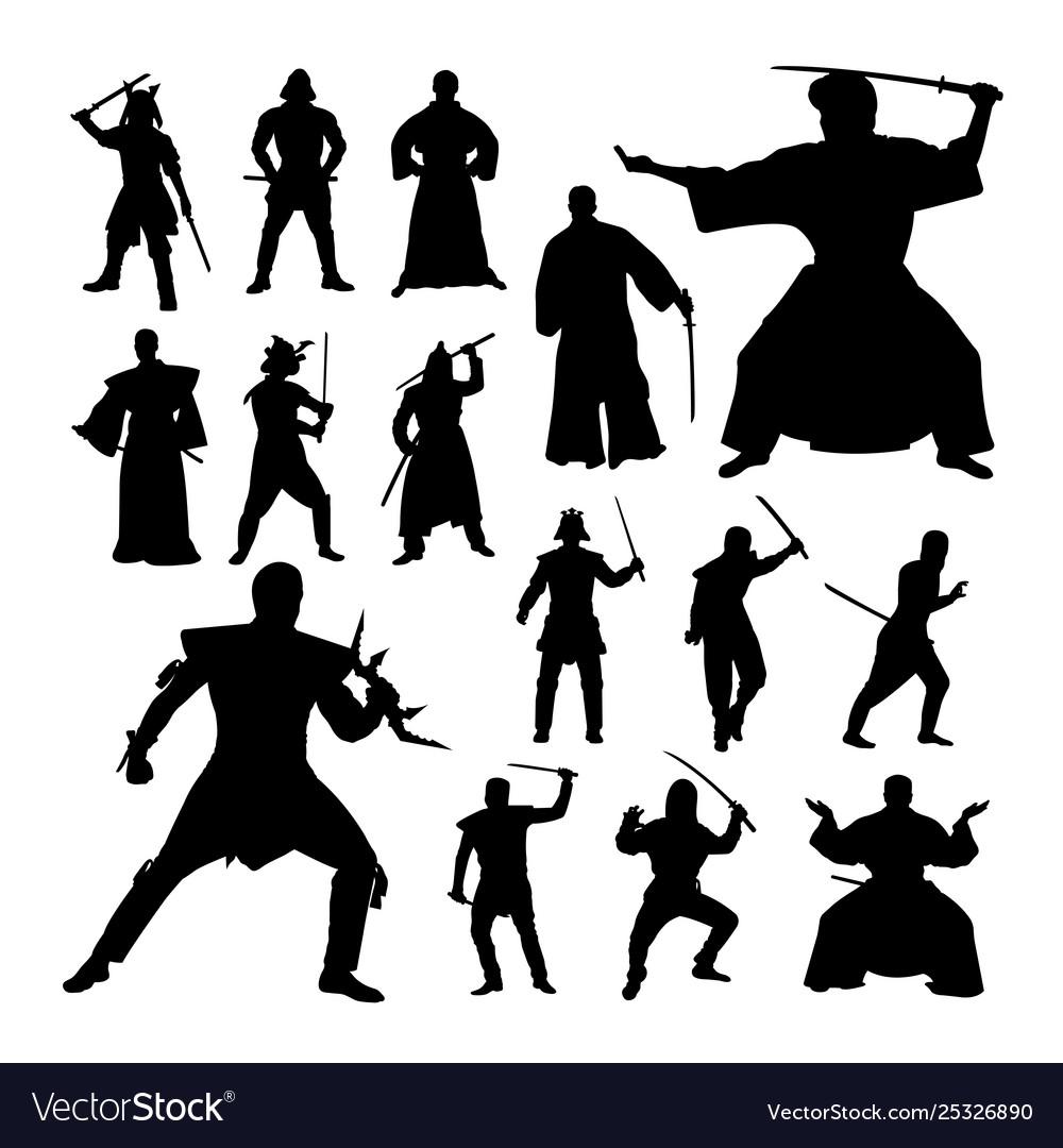 Samurai gesture silhouettes