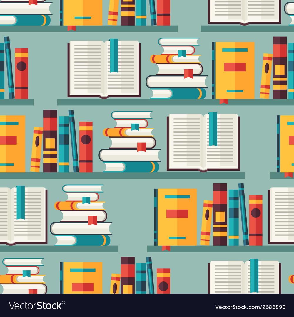 Seamless pattern with books on bookshelves in flat