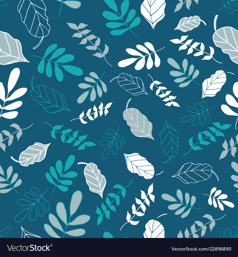 Teal tossed floral and leaves mix seamless pattern