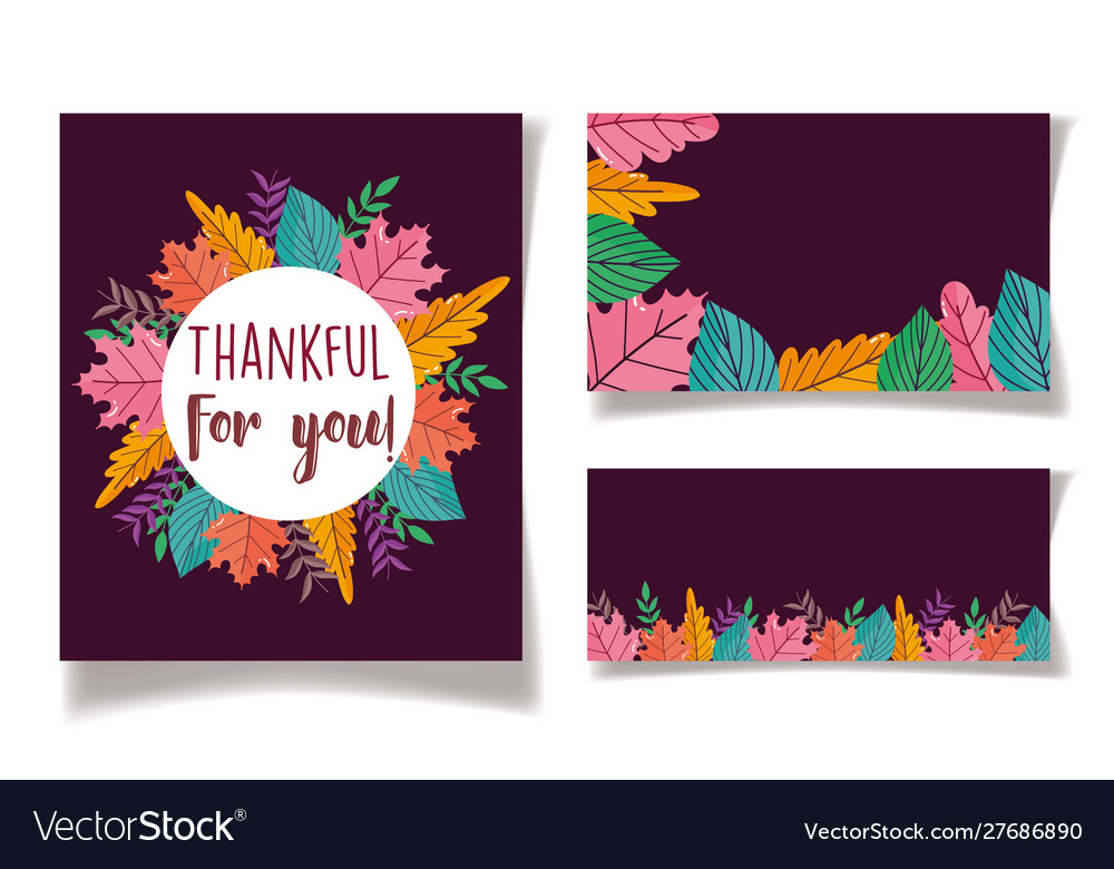 Thanksgiving label cards leaves dark background