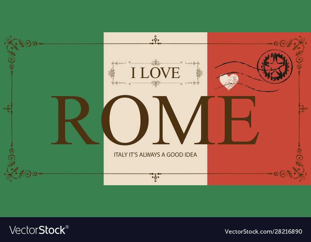 Vintage postcard with words i love rome vector
