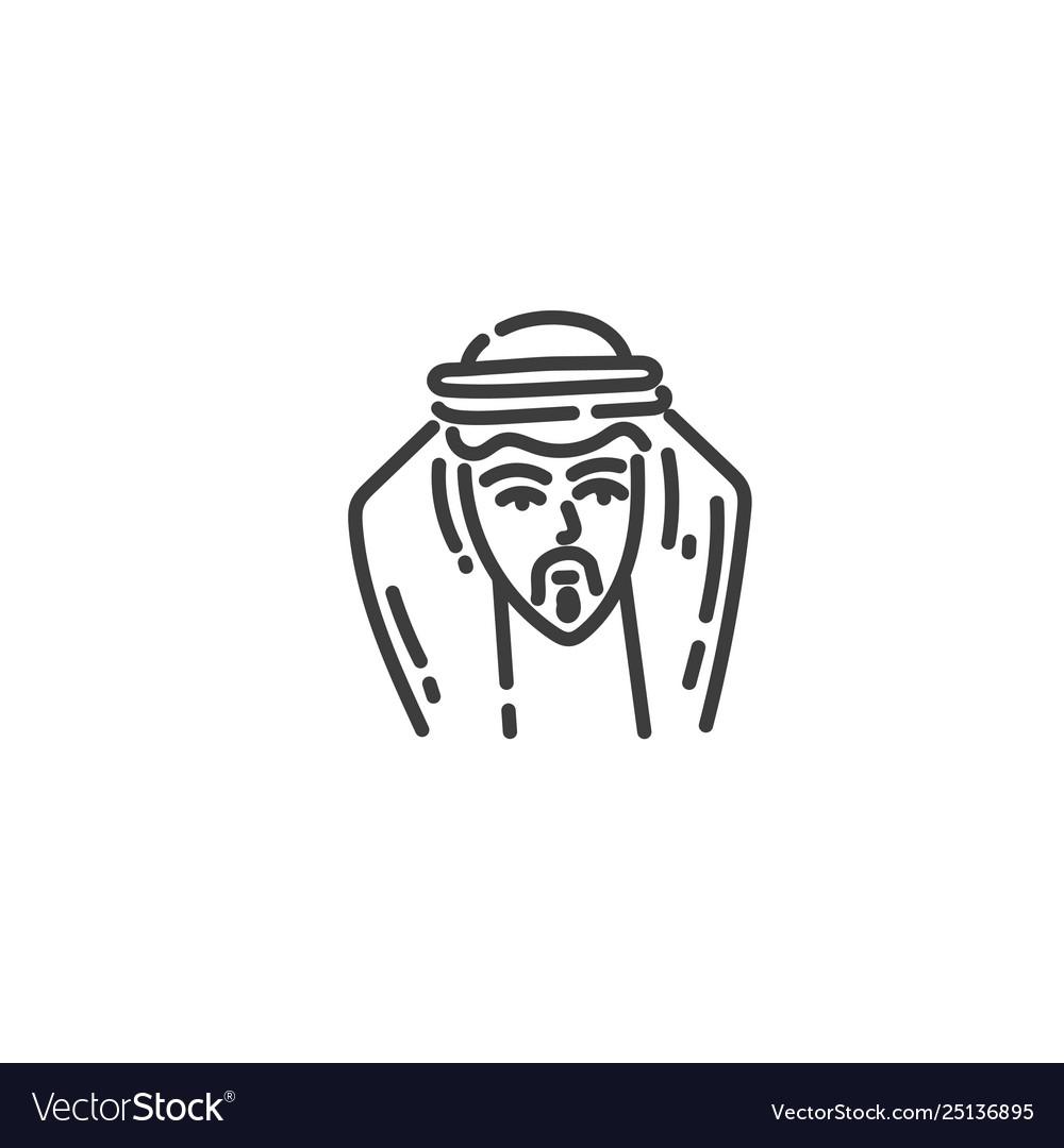 Arab man flat outline icon egypt concept