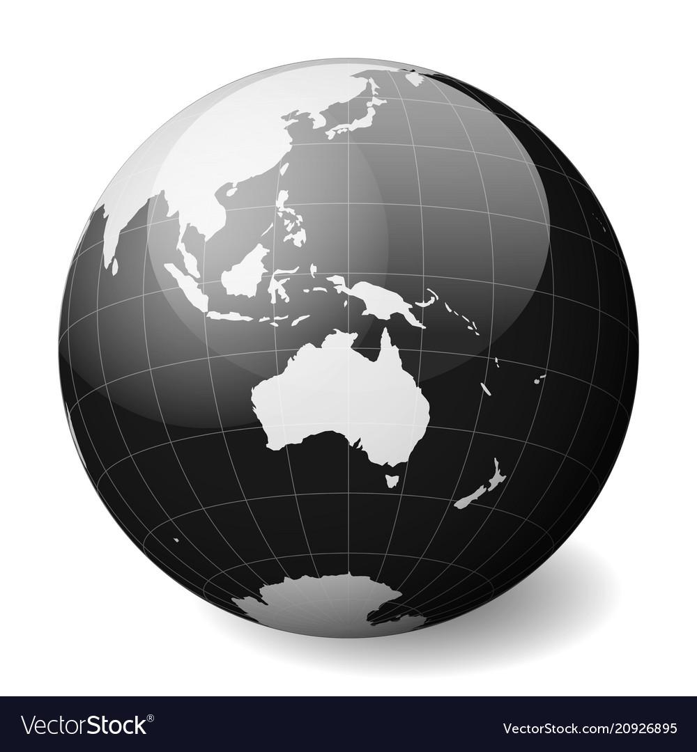 9917aee945 Black earth globe focused on australia with thin Vector Image