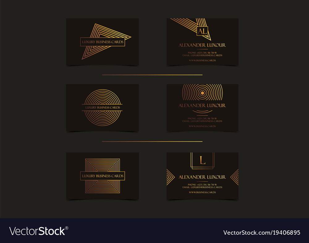 Black gold luxury business cards set for vip event black gold luxury business cards set for vip event vector image reheart Choice Image