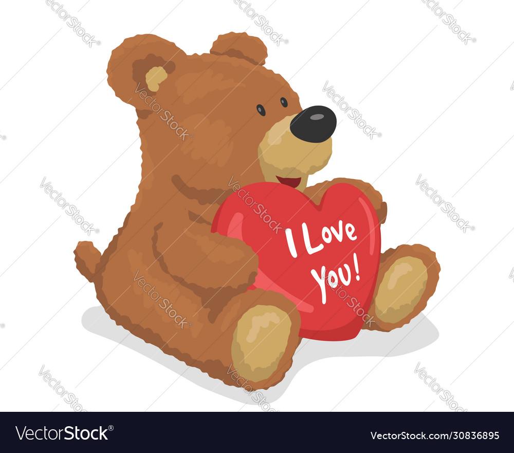 Brown teddy bear holds a heart i love you