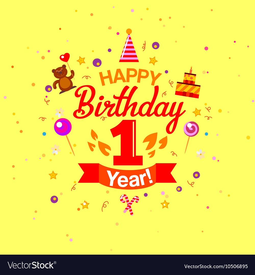 First Year Anniversary Celebration Design vector image