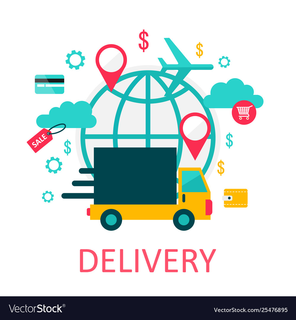 Flat style delivery service