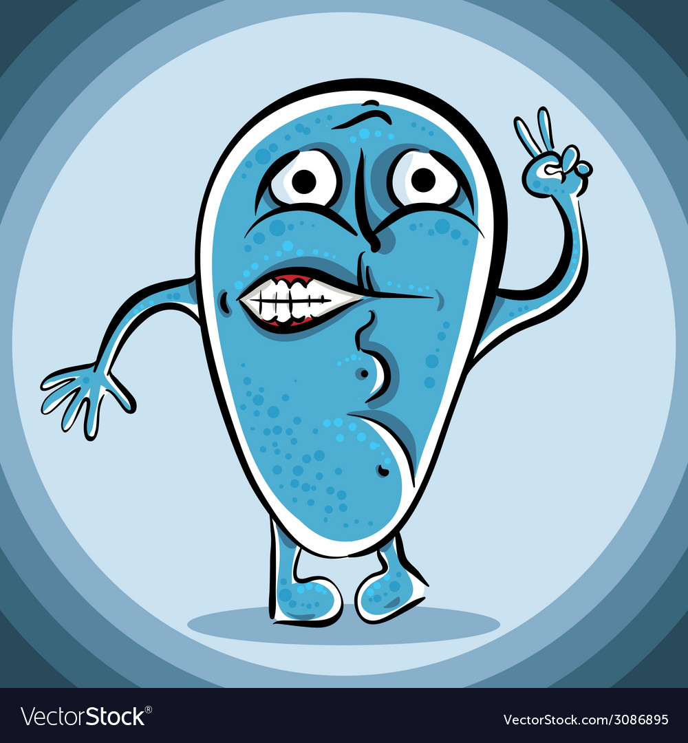 Funny blue cartoon monster