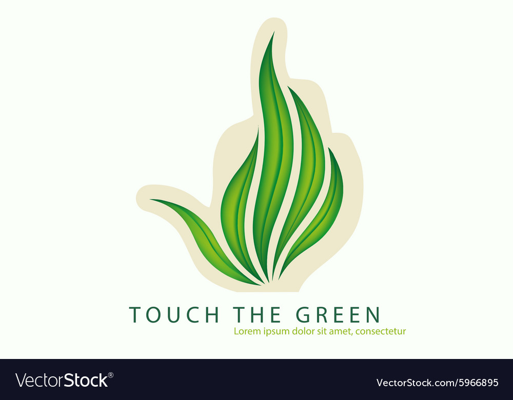 Green leaves of grass as a gesture off