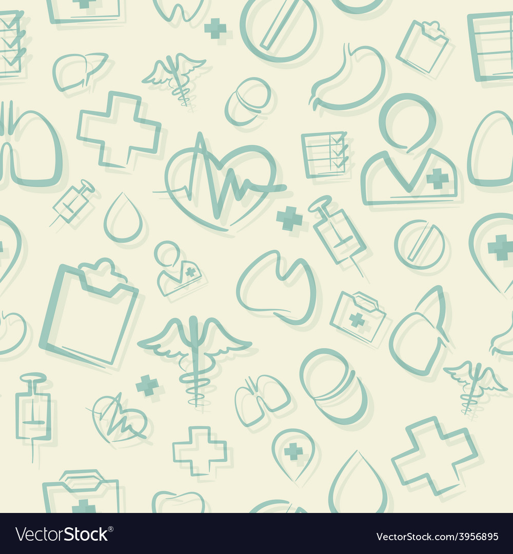 Green Medical Seamless Pattern vector image