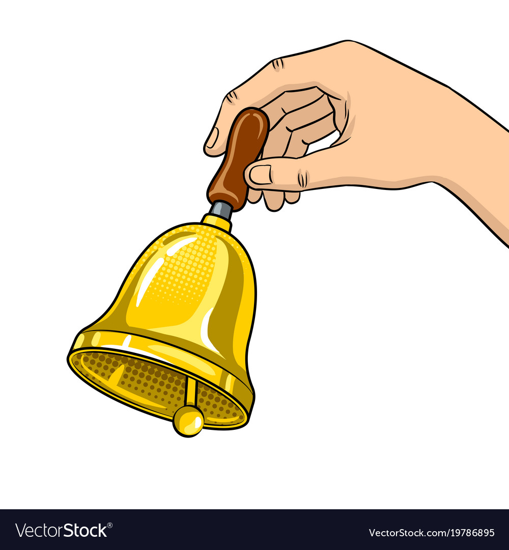 Hand ring bell pop art Royalty Free Vector Image