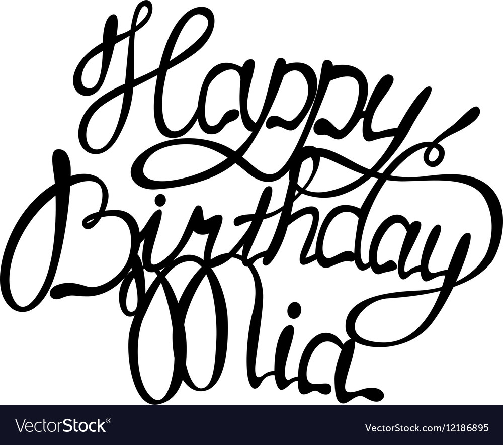 Happy Birthday Mia Name Lettering Vector Image