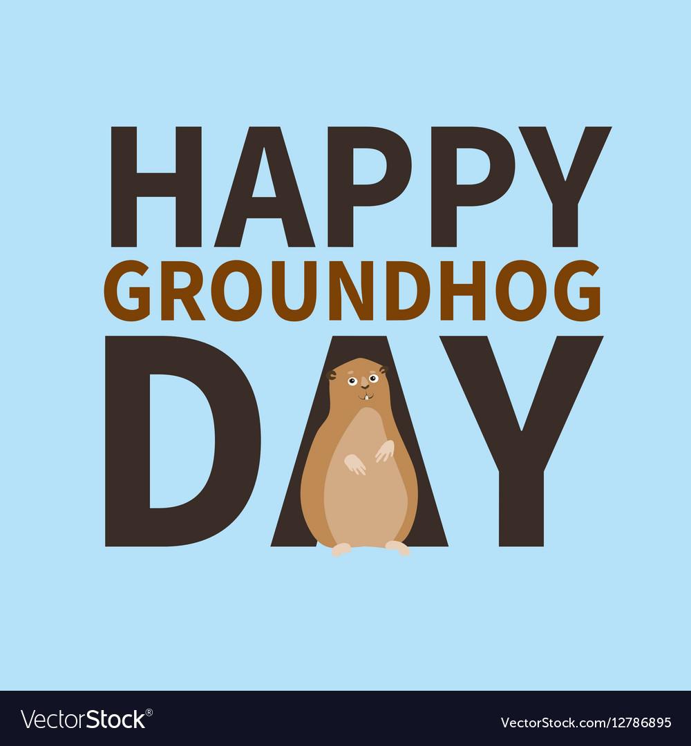 Happy Groundhog Daylogo Icon Cute Marmot Vector Image