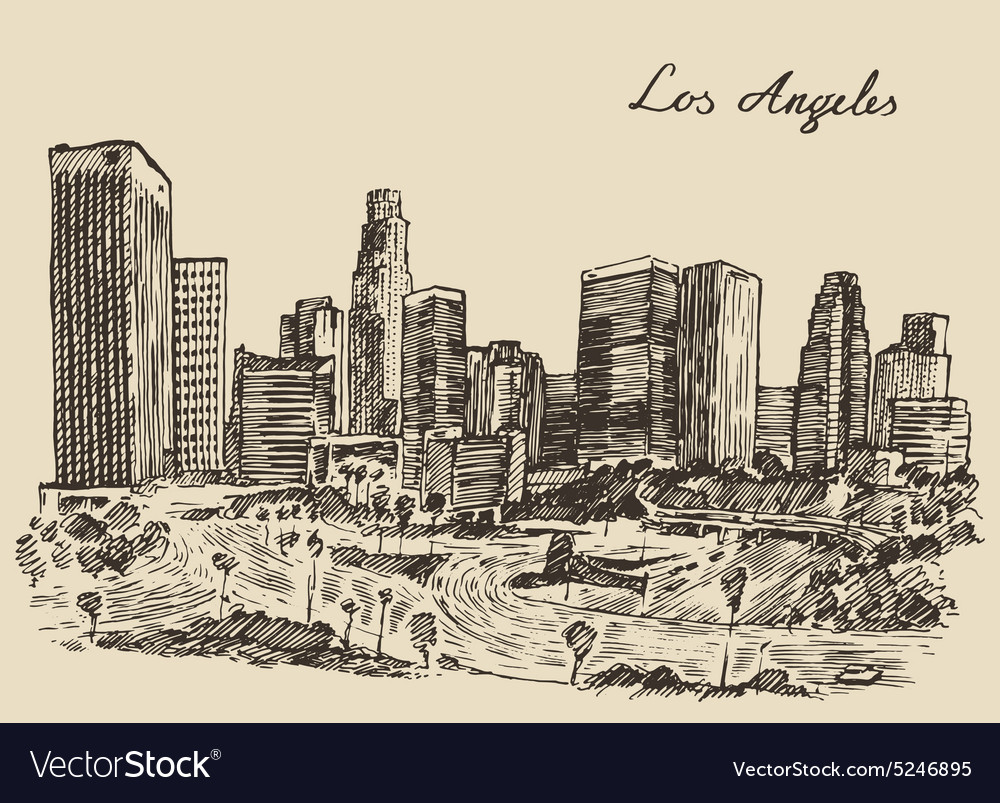 Los Angeles skyline California vintage engraved