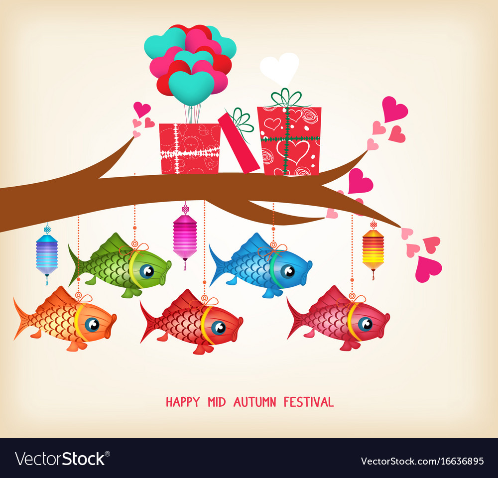 Mid Autumn Festival Day Greeting Card With Gifts Vector Image