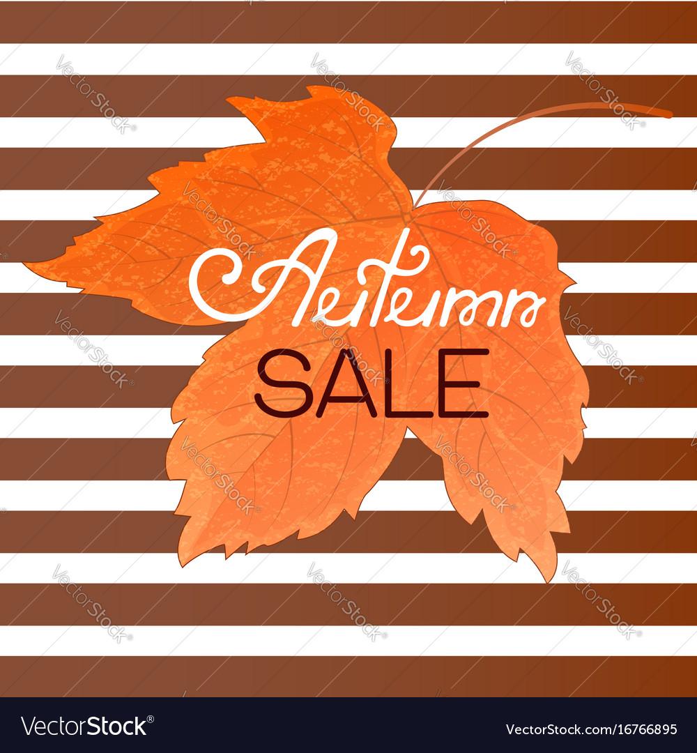 Orange maple leaf autumn sale banner on a striped