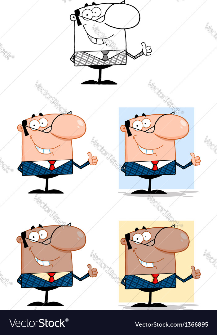 Smiling Business Man Showing Thumbs Up Collection vector image