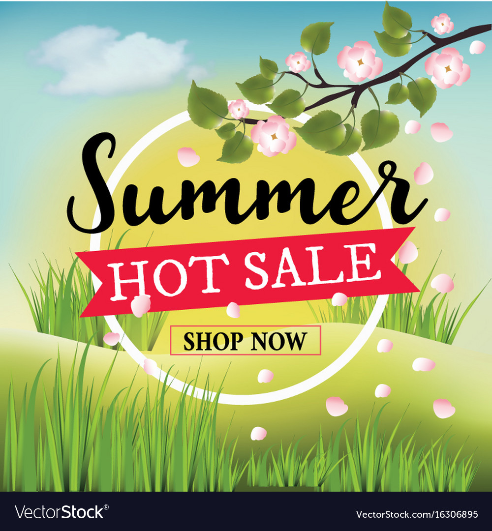 Summer hot sale banner with summer nature vector image