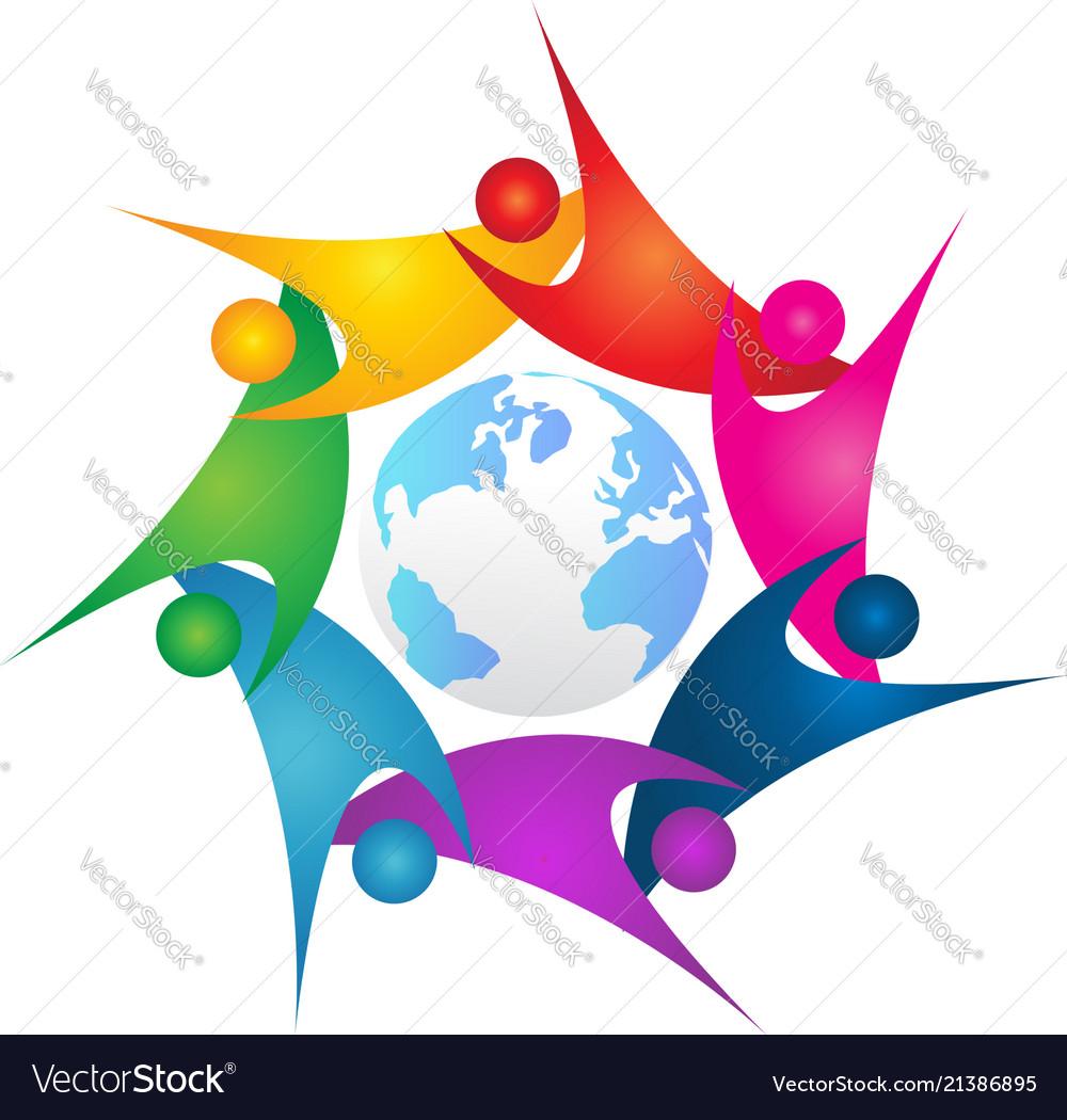 Teamwork people surrounding earth icon logo
