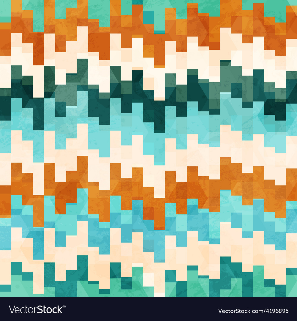 Vintage pixel seamless pattern with grunge effect vector image