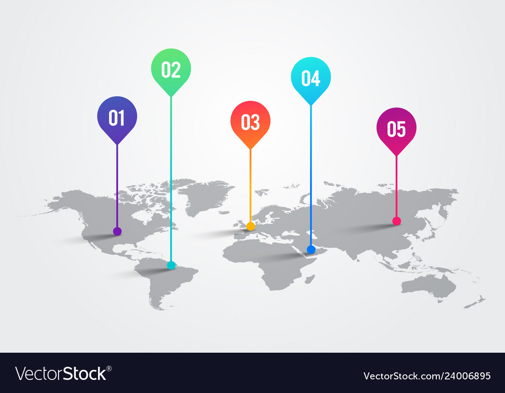 World map with infographic pointer marks chart