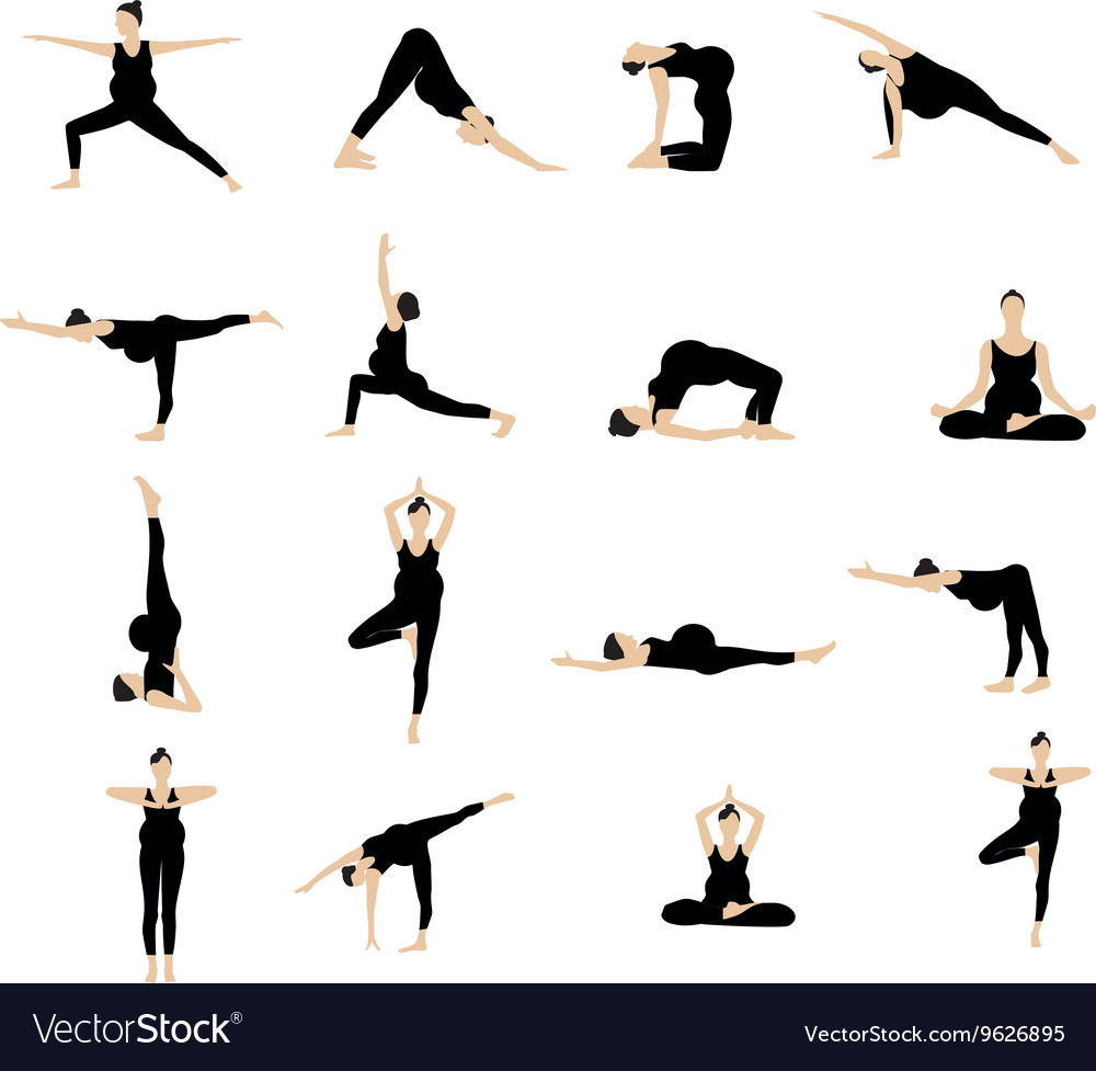 Yoga Postures Silhouette Set Royalty Free Vector Image