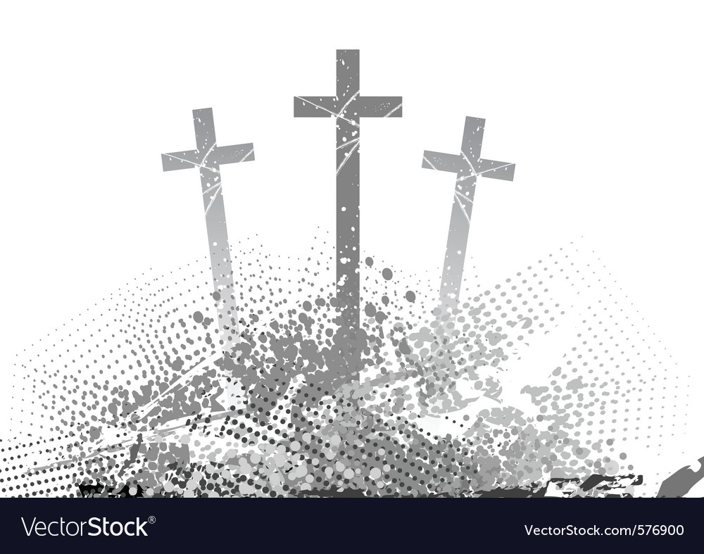 Abstract golgotha with three cross vector image