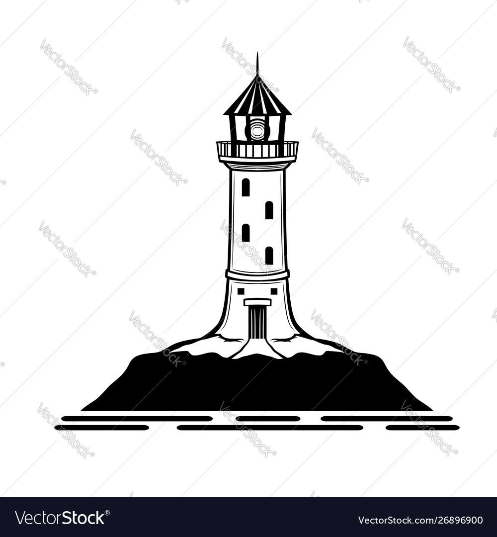 Black lighthouse sign