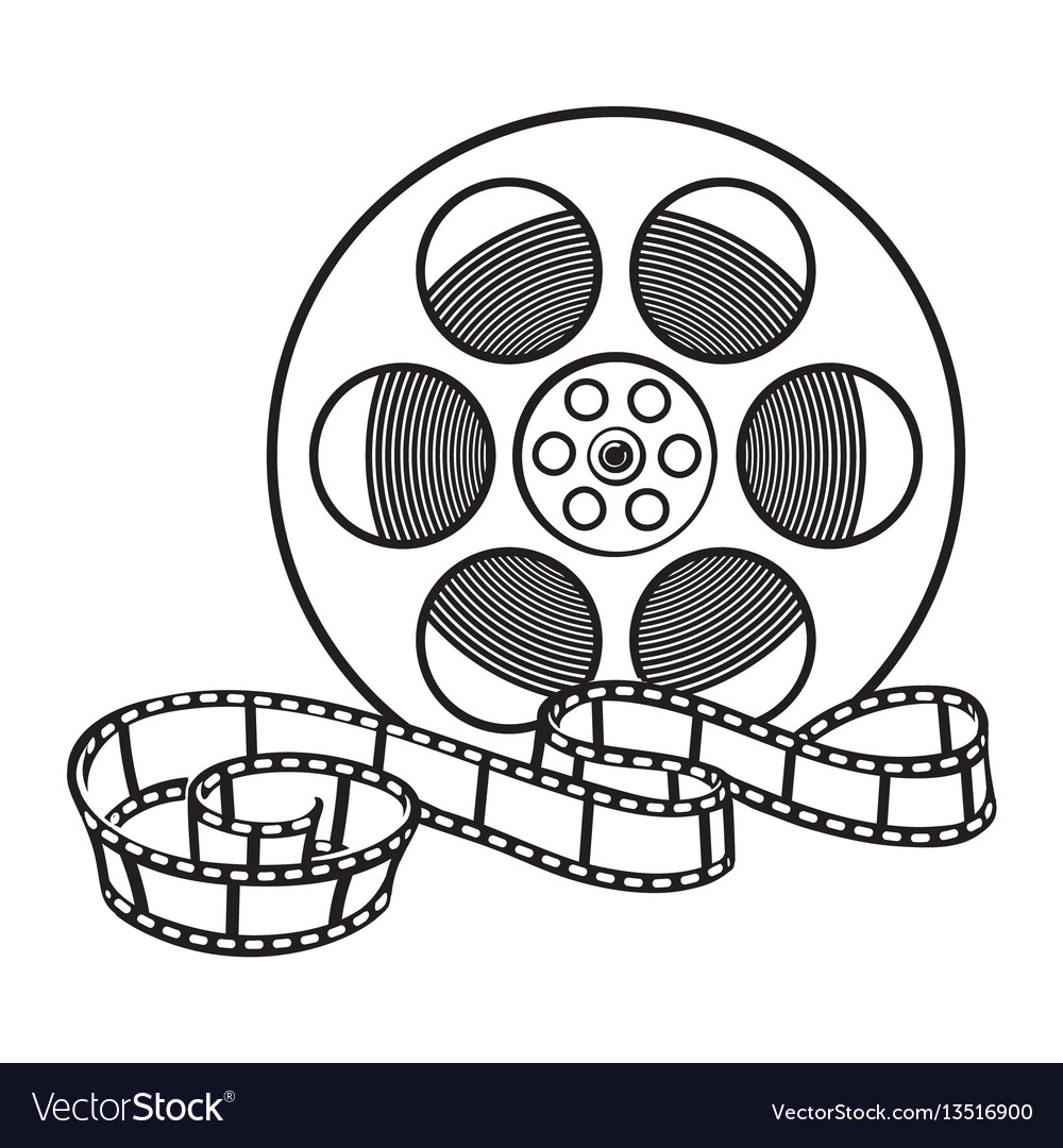 Classical motion picture cinema film reel sketch
