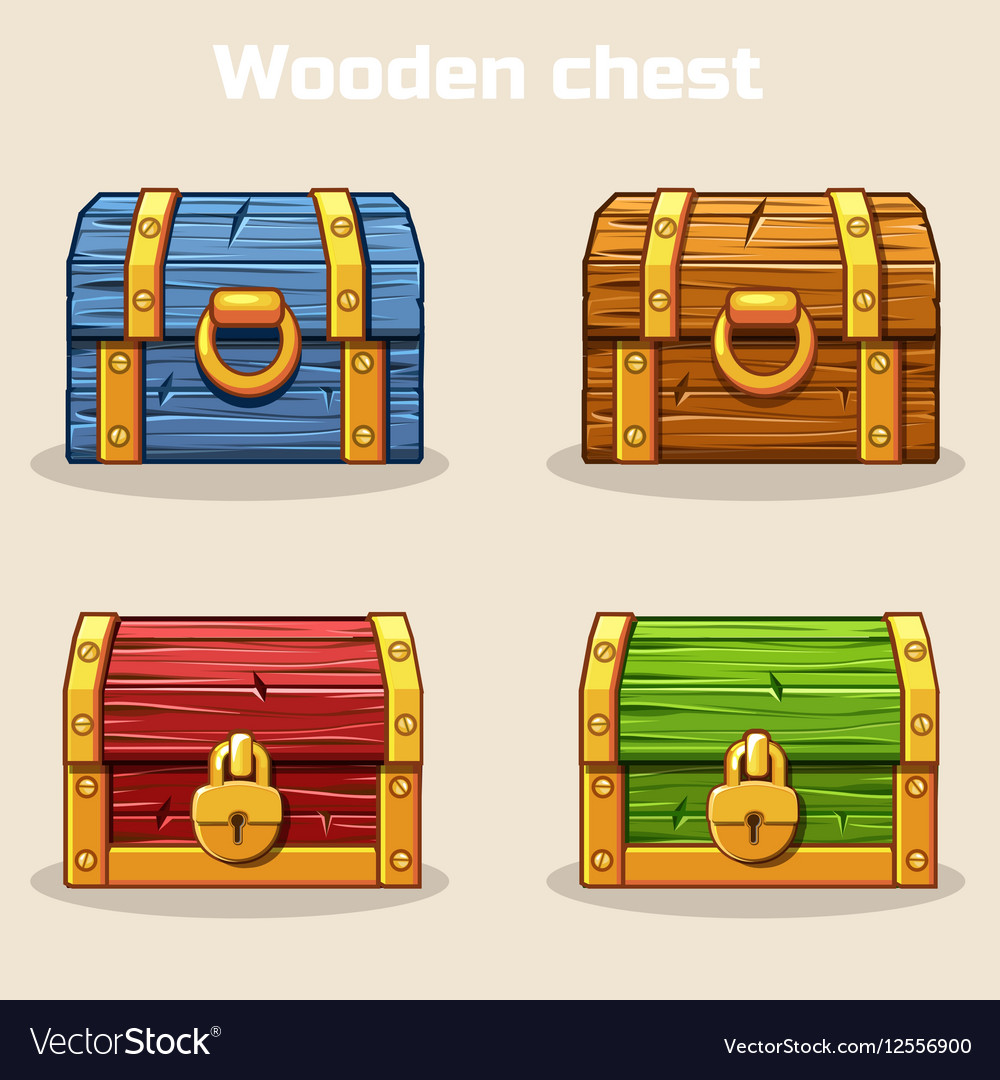 Closed colored wooden treasure chest