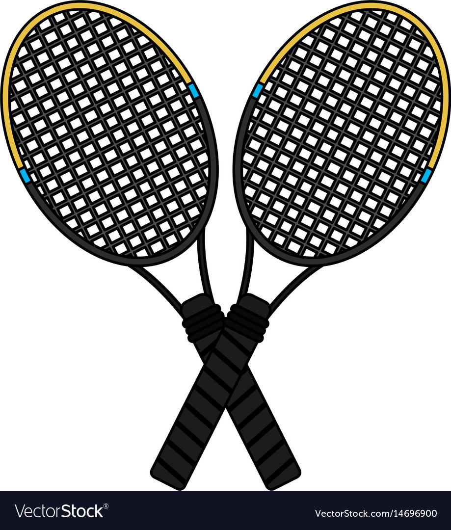 Colorful Image Cartoon Two Tennis Racquets Cross Vector Image
