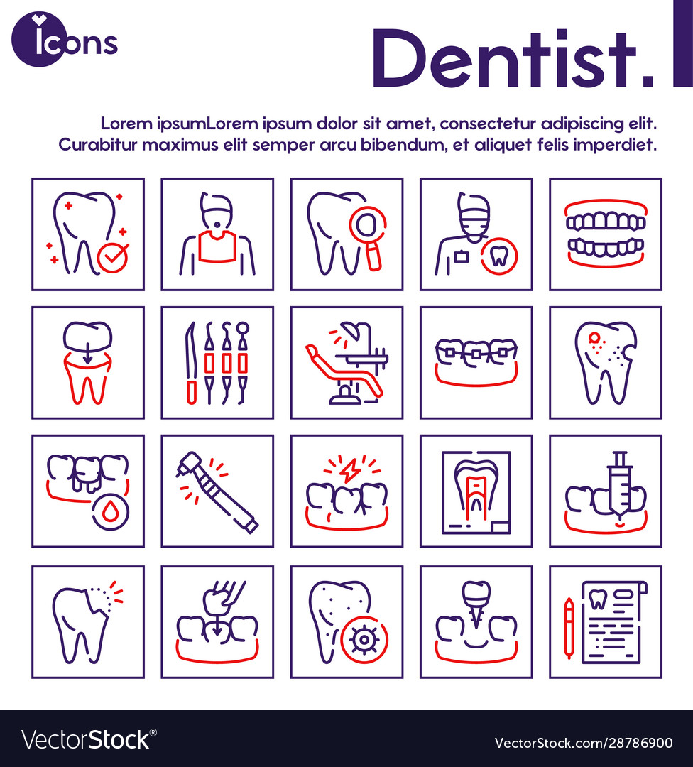 Dental care color linear icons set