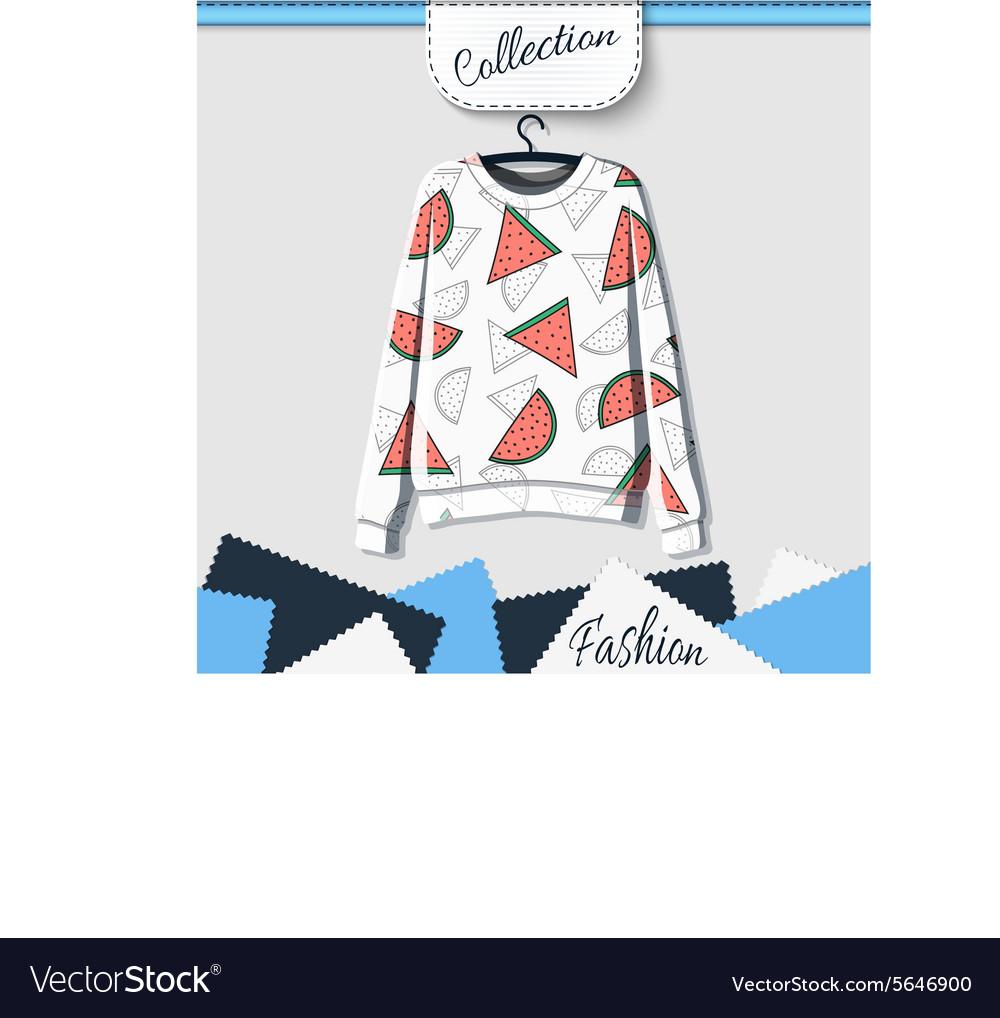 Design sweatshirt with prints of watermelons