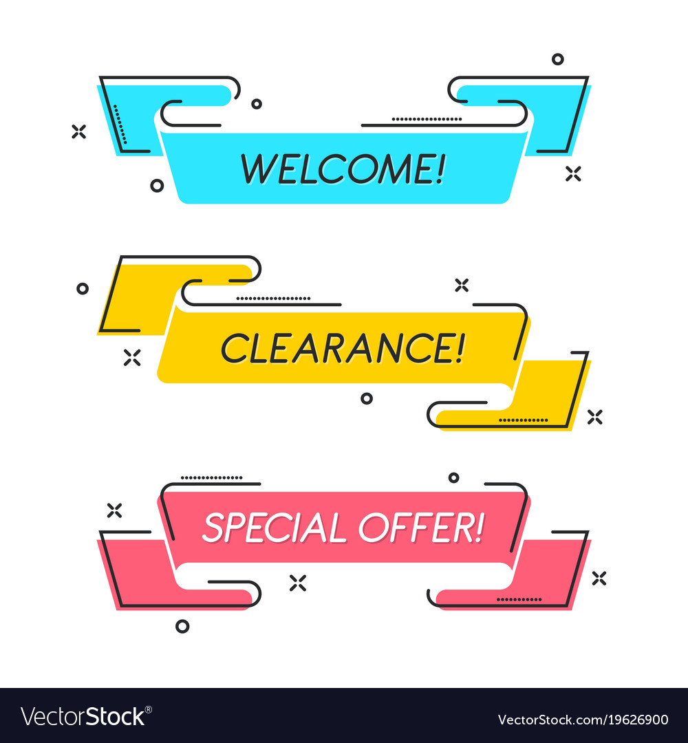 Flat linear promotion ribbon banner scroll price