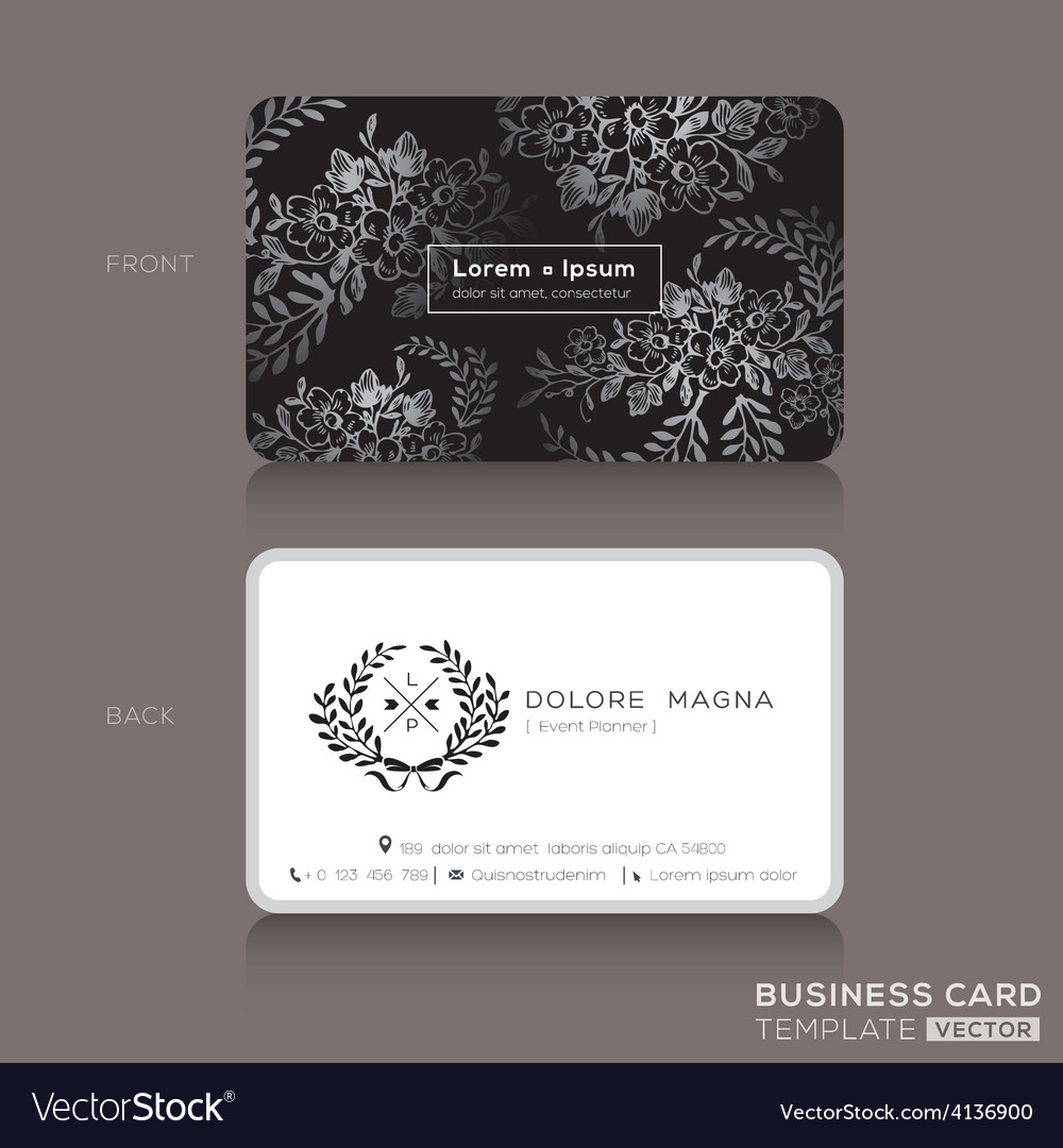 Floral vintage elegant business cards design vector image reheart Gallery