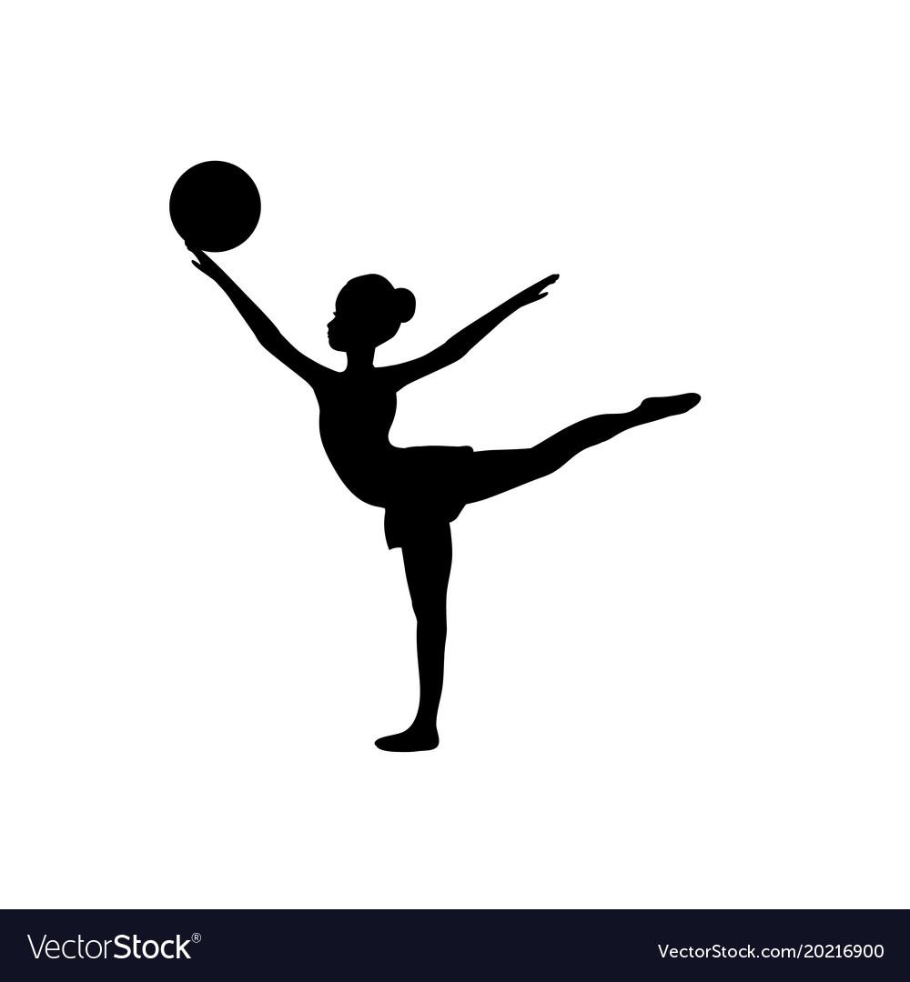 Girl gymnastic sport silhouette sportswoman ball