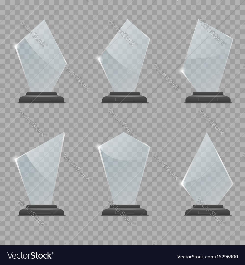 Glass trophy award set